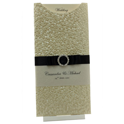 Wedding Invitations - DL Glamour Pocket - Pebbles Ivory Black Buckle