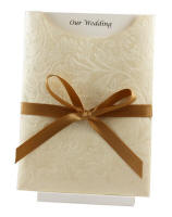 Wedding Invitation - C6 Pocket Botannica Ivory Pearl Latter Bow