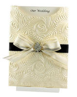 Wedding Invitation - C6 Pocket Majestic Swirl Ivory Diamond Cluster