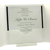 Wedding Invitations - Gate Fold Ice Gold with Embossed White Roses INSIDE