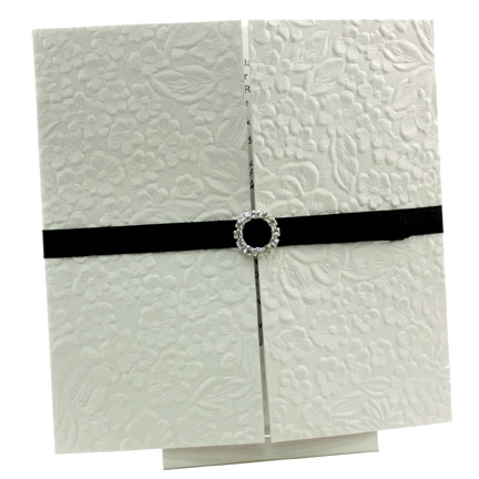 Wedding Invitations - Gate Fold Ice Gold with Embossed White Roses