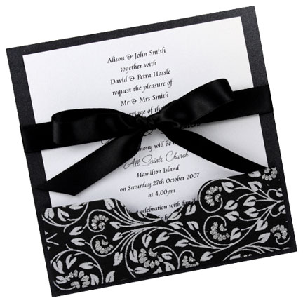 Wedding Invitation 1425cm Add A Pocket Black Floral Glitter