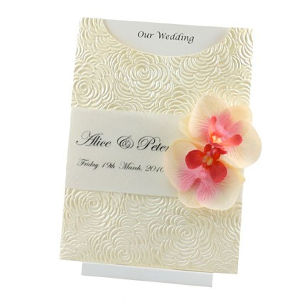 Wedding Invitation   C6 Glamour Pocket   Bouquet Ivory Pearl Orchid