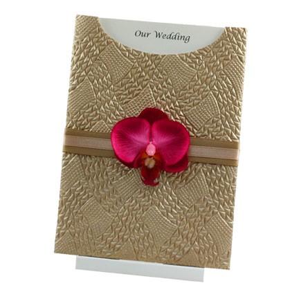 Wedding Invitation C6 Glamour Pocket Destiny Mink Pearl Orchid