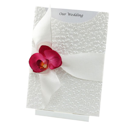 Wedding Invitations   C6 Glamour Pocket Modena White Pearl Orchid