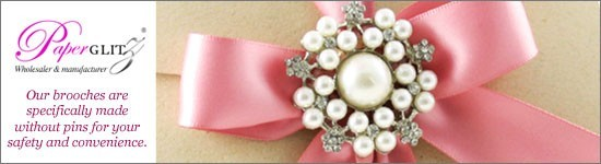 Wholesale High Quality Diamante Brooches with no pins for use on Wedding Invitations. Paperglitz Australia