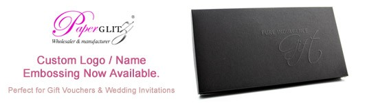 Custom logo / name embossing on our boxes now available. Perfect for gift vouchers & wedding invitations.