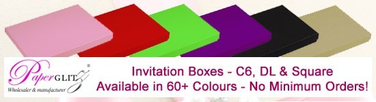 Paperglitz Invitation Boxes are now available in all colours with no minimum orders!