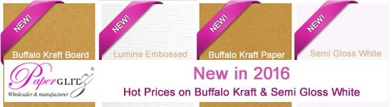 New in 2016 - Buffalo Board, Buffalo Kraft, Semi-Gloss White (Flat & Lumina Embossed) - an affordably priced new range of papers & cards