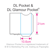 Paperglitz DL Glamour Pocket Invitation Card Dimensions - popular for wedding & christening invitations