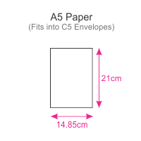 Dimensions of our A5 Paper - measuring 1/2 an A4 sheet