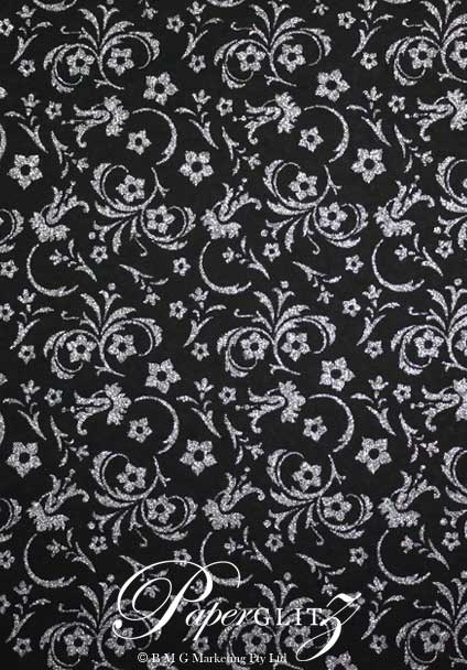 Handmade Glitter Print Paper - Amelia Black & Silver Glitter A4 Sheets. Pattern not to scale.