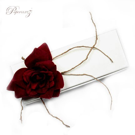 Example of a Paperglitz 3 Chocolate Bomboniere/Favor Box in Curious Metallics Ice Gold Lumina Embossed card decorated with one of our stunning red velvet roses (sold separately)