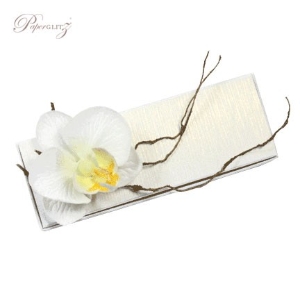 Example of a Paperglitz 3 Chocolate Bomboniere/Favor Box in Curious Metallics Ice Gold Lumina Embossed card decorated with one of our stunning white silk orchids (sold separately)