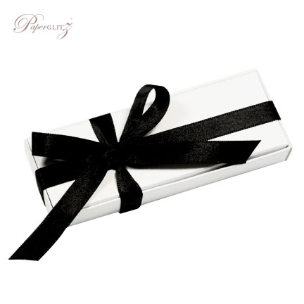Example of a Paperglitz 3 Chocolate Bomboniere/Favor Box in Curious Metallics Ice Gold decorated with our double sided black satin ribbon (sold separately)