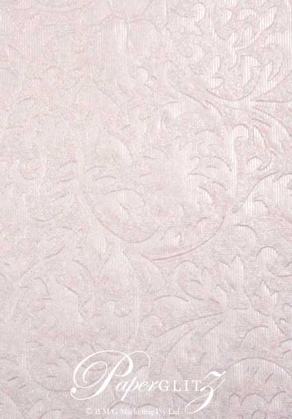 Handmade Embossed Paper - Botanica Baby Pink Pearl A4 Sheets - Pattern not to scale.