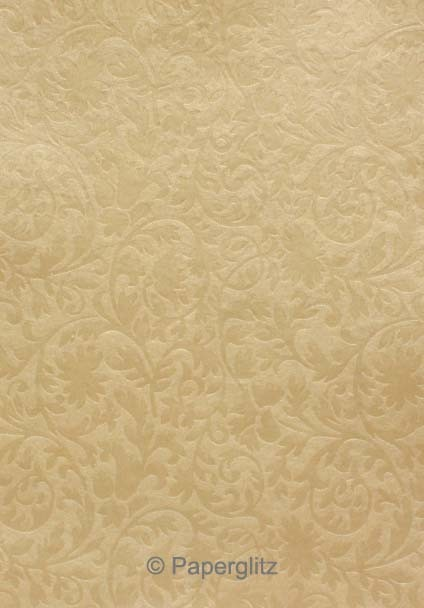 Handmade Embossed Paper - Botanica Mink Pearl A4 Sheets - Pattern not to scale.