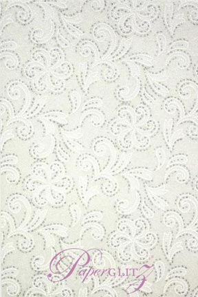 Handmade Chiffon Paper - Charlyse White Pearl & Silver Glitter A4 Sheets. Pattern not to scale.