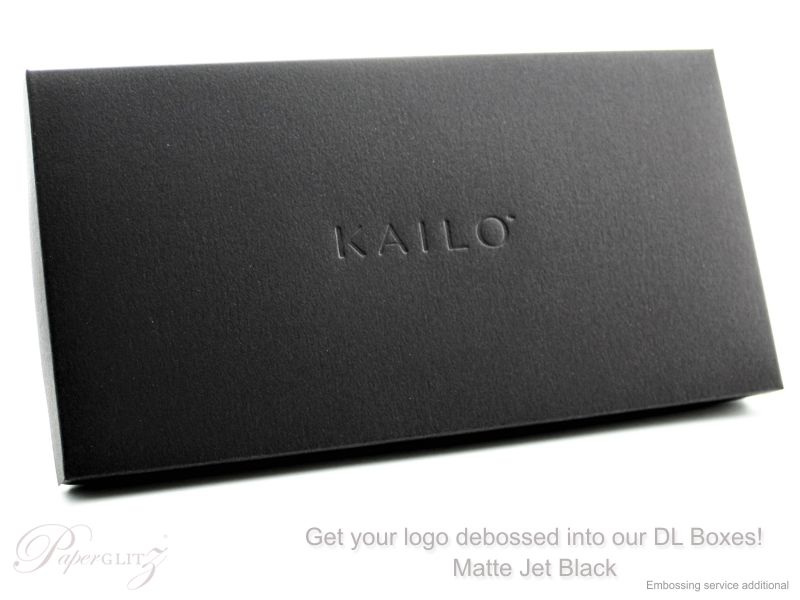 Get your logo or names debossed (pressed in) on our DL Boxes. Perfect for gift vouchers and weddings. Embossing & debossing is a special additonal service - contact us for a quote.