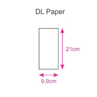 Dimensions of our DL Papers - measuring 1/3 of an A4 sheet