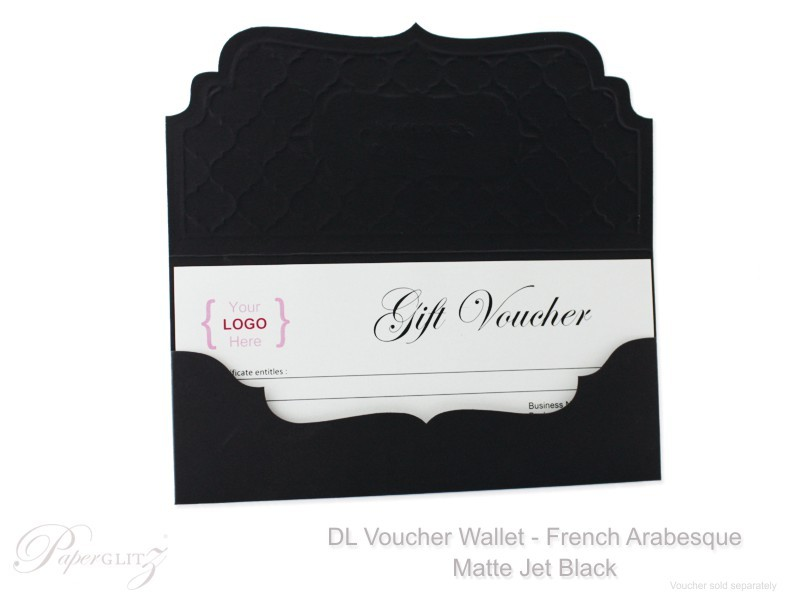 Inside view of one of our Jet Black DL Voucher Wallets in French Arabesque with a optional DIY DL Voucher Paper