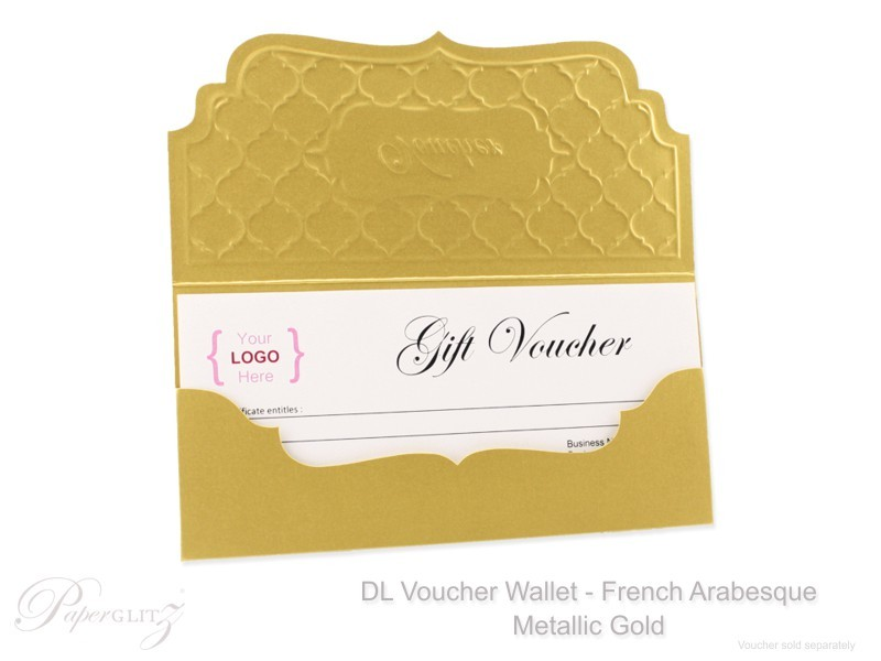 Inside view of one of our Metallic Gold DL Voucher Wallets in French Arabesque with a optional DIY DL Voucher Paper