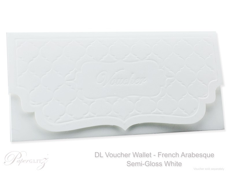 Detailed view of a a finished Semi-Gloss White DL Voucher Wallets in Embossed French Arabesque