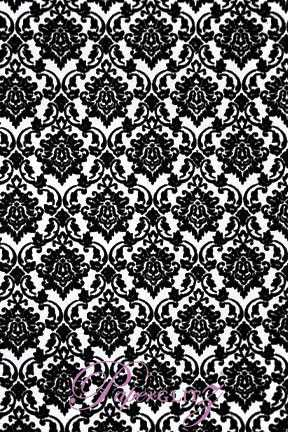 Handmade Flocked Paper - Damask Black Flock on White Pearl A4 Sheets - Pattern not to scale.