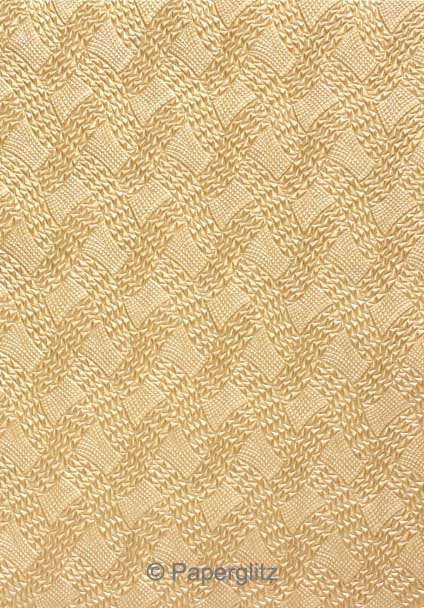 Handmade Embossed Paper - Destiny Mink Pearl A4 Sheets - Pattern not to scale.