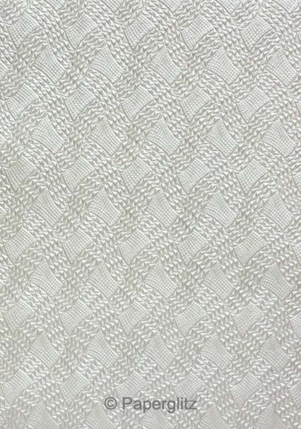 Handmade Embossed Paper - Destiny Silver Pearl A4 Sheets - Pattern not to scale.