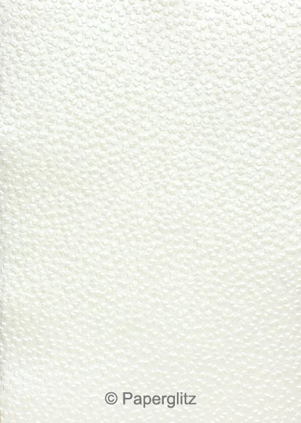 Handmade Embossed Paper - Modena White Pearl A4 Sheets - Pattern not to scale.