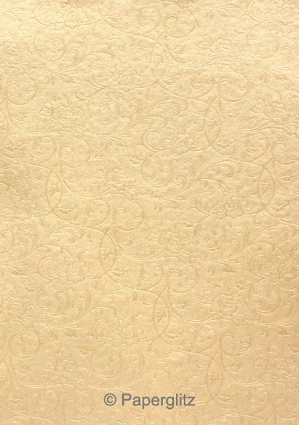 Handmade Embossed Paper - Olivia Mink Pearl A4 Sheets - Pattern not to scale.
