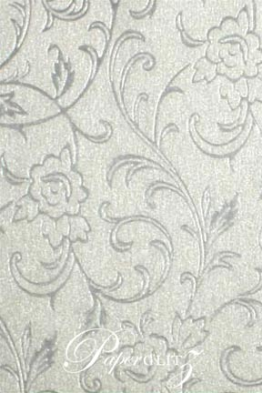 Handmade Chiffon Paper - Olivia White Pearl & Silver Foil A4 Sheets. Pattern not to scale.