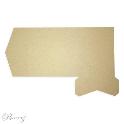 Example of a genuine Paperglitz 150mm Square Short Side Pocket Fold Invitation Card in Mohawk Via Kraft
