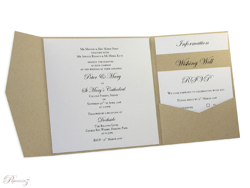 Example of a genuine Paperglitz 150mm Square Short Side Pocket Fold Wedding Invitation Card made in our 216gsm Mohawk Via Kraft Card. It has been finished with Metallic Crystal Perle Arctic White Inserts.