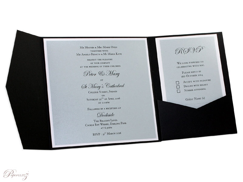 Example of a genuine Paperglitz 150mm Square Short Side Pocket Fold Wedding Invitation Card made in our 352gsm Starblack. It has been finished with Metallic Crystal Perle Steele (Silver) & Diamond White Inserts.
