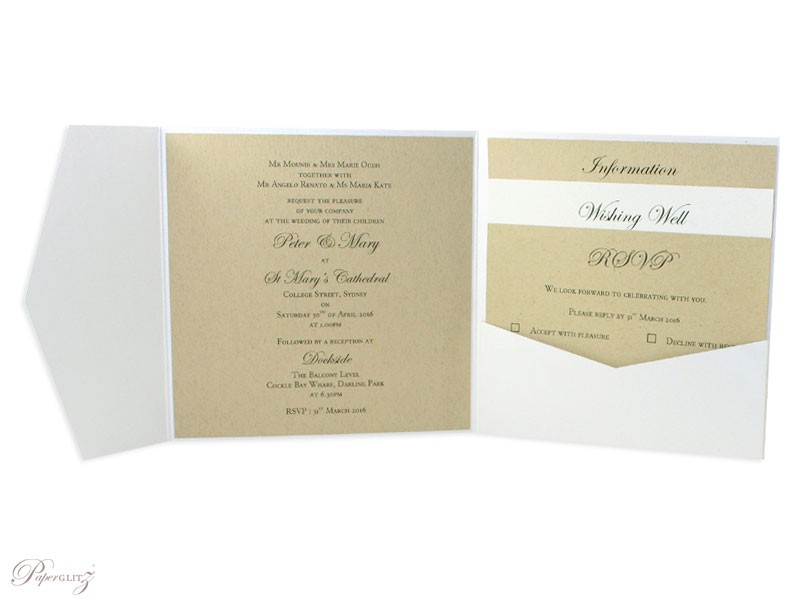 Example of a genuine Paperglitz 150mm Square Side Pocket Fold Invitation Card in Metallic Crystal Perle Diamond White with the text printed on our standard 14.5cm x 14.5cm Square Flat Card in Mohawk Via Vellum Kraft. The layers were made from our standard