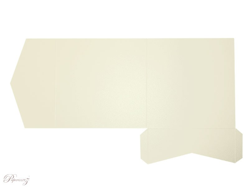 Example of a genuine Paperglitz 150mm Square Side Pocket Fold Invitation Card in Metallic Crystal Perle Arctic White