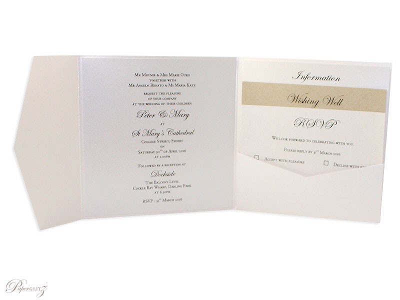 Example of a genuine Paperglitz 150mm Square Side Pocket Fold Invitation Card in Metallic Crystal Sandstone with the text printed on our standard 14.5cm x 14.5cm Square Flat Card in Crystal Perle Diamond White. The layers were made from our standard 13.85