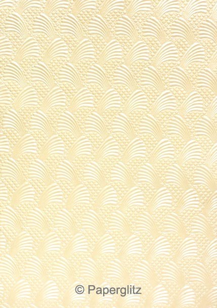 Handmade Embossed Paper - Sea Breeze Ivory Pearl A4 Sheets - Pattern not to scale.