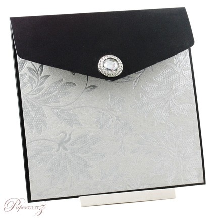 Example of a decorated Paperglitz Pocket Fold Invitation - 15cm Square Pouch in Crystal Perle Licorice Black