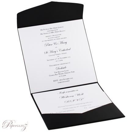 Example of the inside of a completed Paperglitz Pocket Fold Invitation - 15cm Square Pouch in Crystal Perle Licorice Black