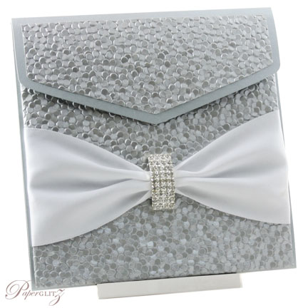 Example of a decorated Paperglitz Pocket Fold Invitation - 15cm Square Pouch in Crystal Perle Steele (Silver)