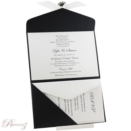 Example of a decorated Paperglitz Pocket Fold Invitation - C6 Pouch in Crystal Perle Glittering Black (Horizontal Layout)