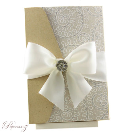 Example of a decorated Paperglitz Pocket Fold Invitation - A6 Folio in Mohawk Via Kraft