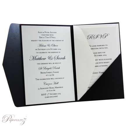 Example of a decorated Paperglitz Pocket Fold Invitation - A6 Folio in Crystal Perle Licorice Black