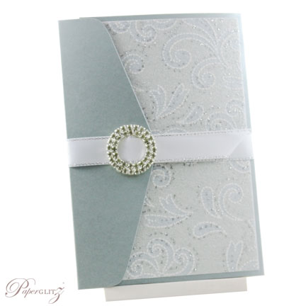 Example of a decorated Paperglitz Pocket Fold Invitation - A6 Folio in Crystal Perle Steele