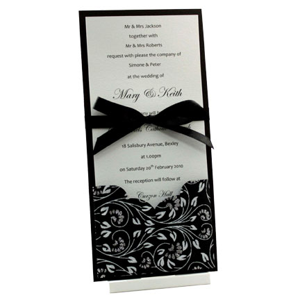 Example of a Paperglitz 9.3cm Add A Pocket in Black Floral Glitter used on a DL Flat Card