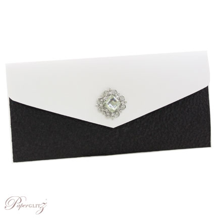 Example of a decorated Paperglitz Pocket Fold Invitation - DL Pouch in Crystal Perle Arctic White