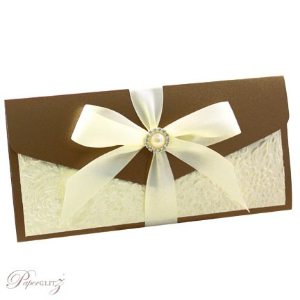 Example of a decorated Paperglitz Pocket Fold Invitation - DL Pouch in Crystal Perle Bronze